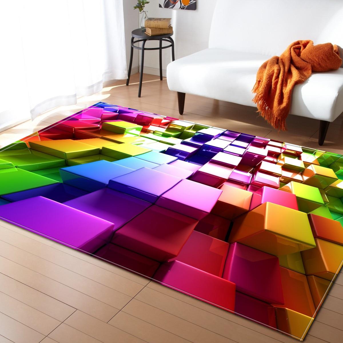 Style nordique Géométrique 3D Tapis Salon Chambre Chambre Tapis Table Basse Tapis Tapis de Jeu Rectangulaire Antidérapant Tapis de Sol