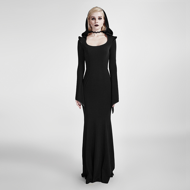 Captivating Gothic Women Long Dress With Hood Steampunk Black Long Sleeve Floor Length  Dress Halloween Costume