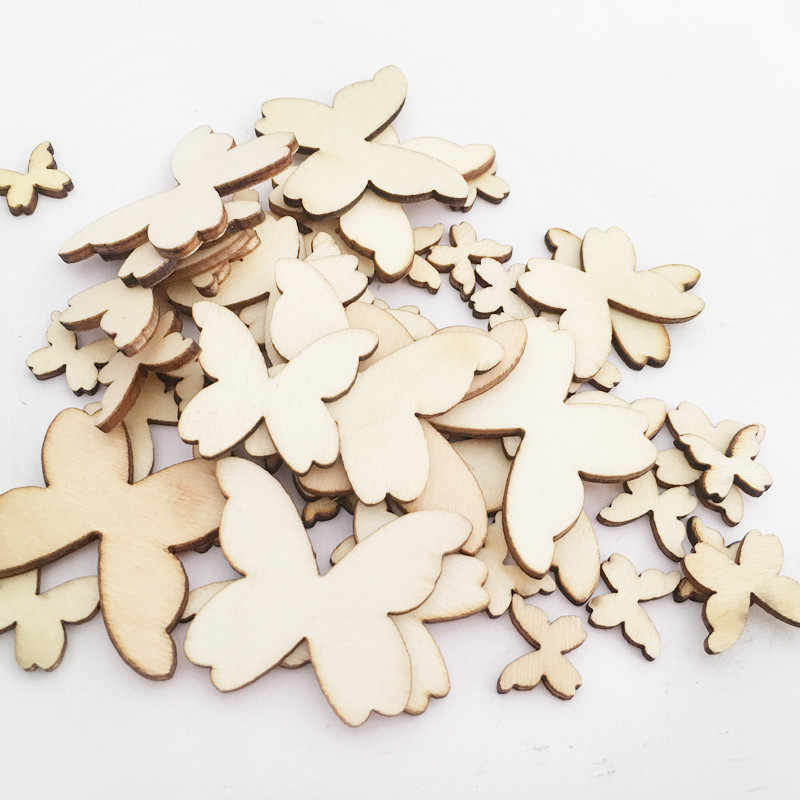 50Pcs Mixed Size Wooden Butterflies Craft Embellishments MDF Wooden Cutout  Scrapbooking for DIY Art Wedding Decoration f5c176c55577