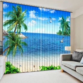 European Blackout Curtains beach shell landscape 3D Window Curtain For The Living room Bedroom Photo Drapes