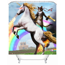 Shower Curtain Unicorn Cat Waterproof Polyester Bath Curtain Bathroom  Accessories 180x180cm Curtains Home Decoration(China