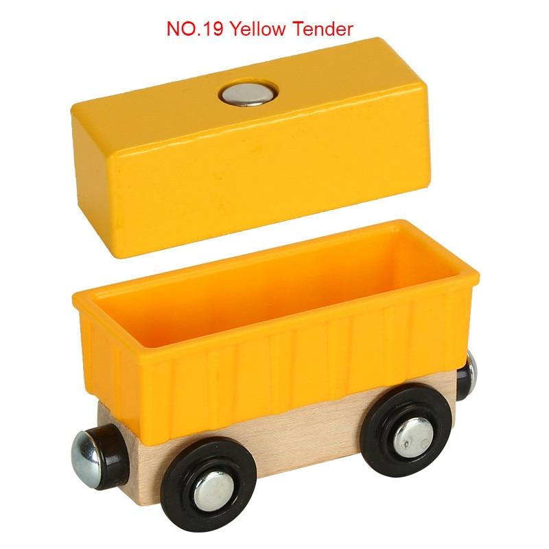 EDWONE деревянный магнитный Поезд Самолет деревянная железная дорога вертолет автомобиль грузовик аксессуары игрушка для детей подходит Дерево Biro треки подарки - Цвет: NO.19 Yellow Tender