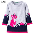 LZH Girls Dress Costume For Kids Children Cute Fox Embroidered Long-Sleeved Dress Girls Party Dresses 2017 Spring Girls Clothes