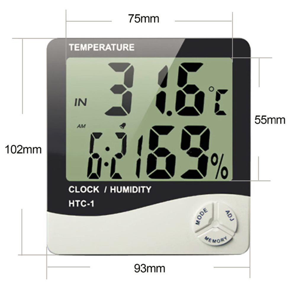 Indoor Temperature Humidity Meter Room LCD Electronic Digital Thermometer Hygrometer Weather Station Alarm Clock HTC-1