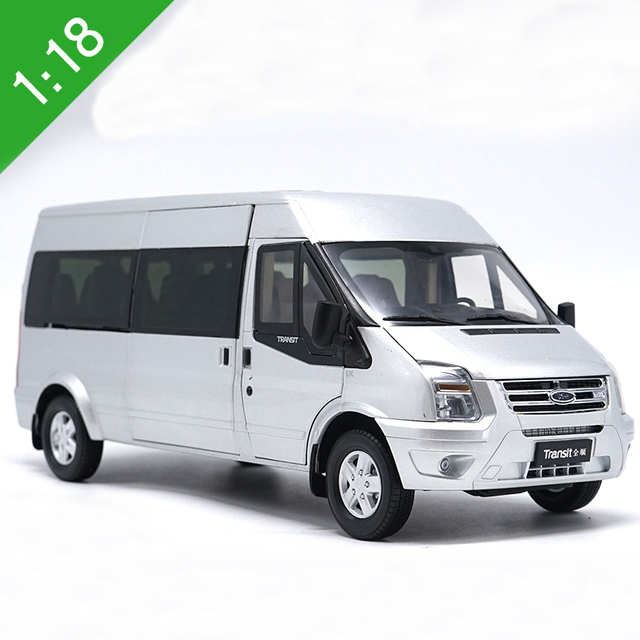 New 1:18 Diecast Model For Ford Transit Silver Van MPV