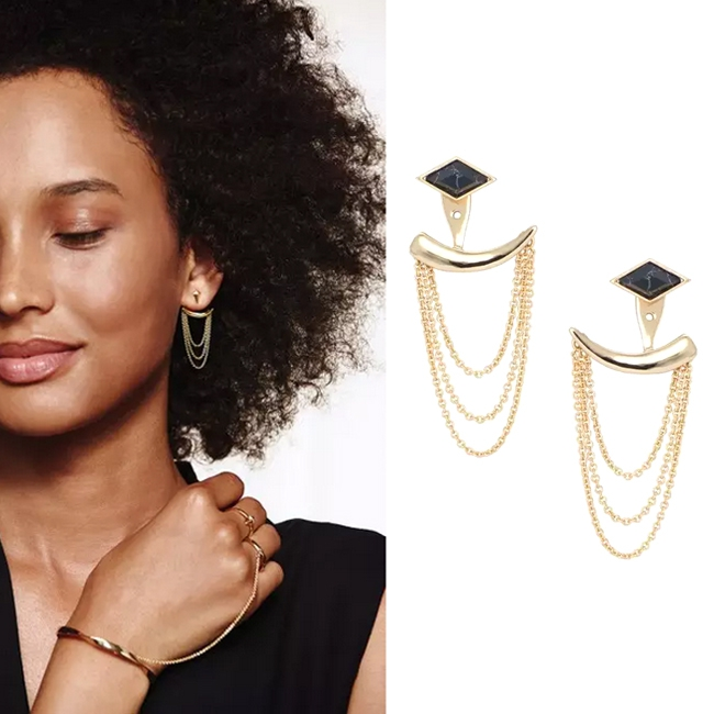 European fashion jewelry S D J Drape Ear Jacket Gold tassel drop EARRINGS Versatile 4 in