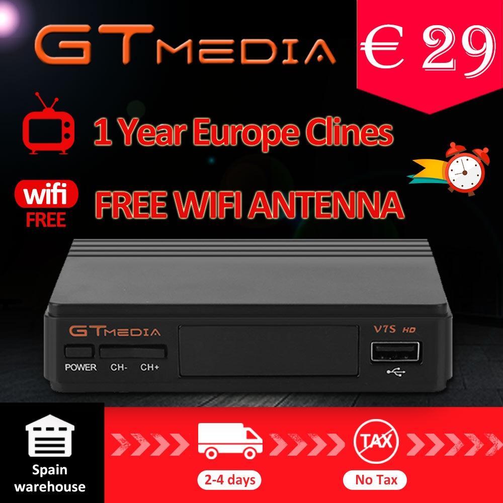 FTA DVB-S2 Satellite TV Empfänger Gtmedia V7S HD 1080 p mit USB WIFI unterstützung YouTube 1 Jahr Cccam cline freies von Freesat v7