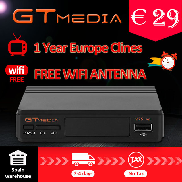 FTA DVB-S2 Satellite TV Receiver Gtmedia V7S HD 1080P with USB WIFI support YouTube 1 Year Cccam cline free from Freesat v7
