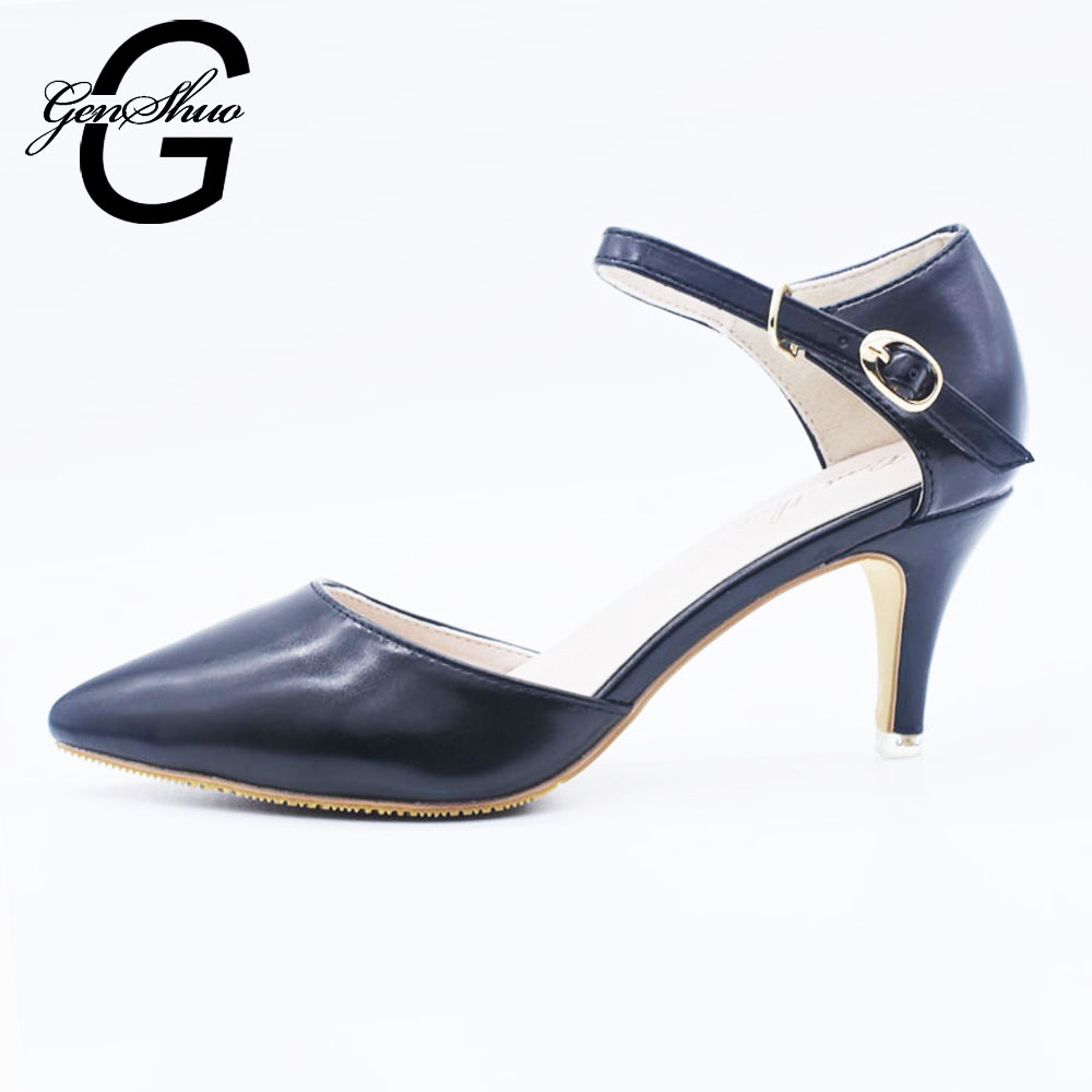 GENSHUO Women's Evening Dress Low Heel Ankle Strap D'orsay Pointed Toe Wedding Pumps Shoes Kitten Heels Shoes Small Big Size