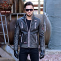 2017 New Men Vintage Black Leather Motorcycle Jacket Stand Collar Embroidery Design Genuine Sheepskin Slim Fit Men Biker Coat