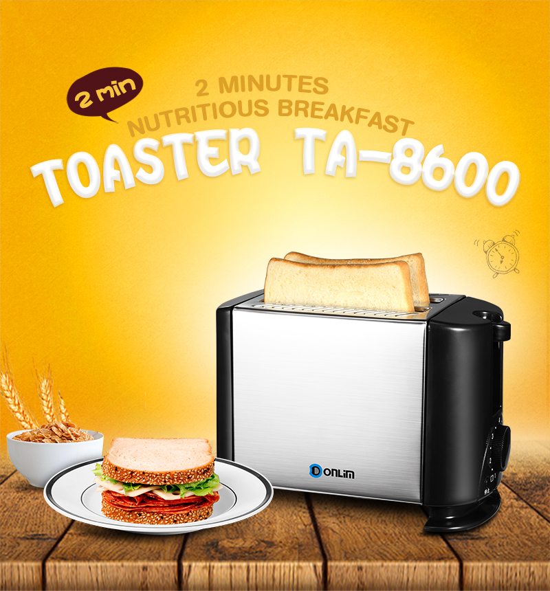 TA-8600 Household Stainless Steel Toaster Bread Baking 2 Slices Slots for Breakfast Home Kitchen pfzc k31 stainless steel silence sound 31 slices bread slicer for commercial use