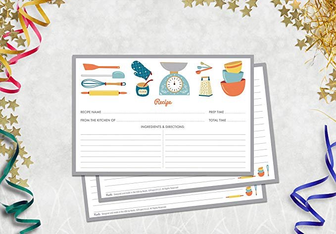 Купить с кэшбэком 20sheet Kitchenware Recipe Cards Double Sided Cards 4x5.6 inches cardstock paper stationery for home kitchen invitation cards