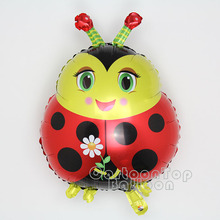 Wholesale big size 100pcs/lot ladybug foil balloon red color animal baloes for birthday party supplies kids classic toy ballon