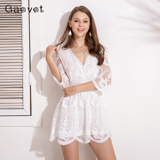 Gaovot Summer Autumn Women Dresses Series Lace Floral Embroidery Deep V Neck Tunic Bodycon Dress Hollow Out Lining Sexy Vestido