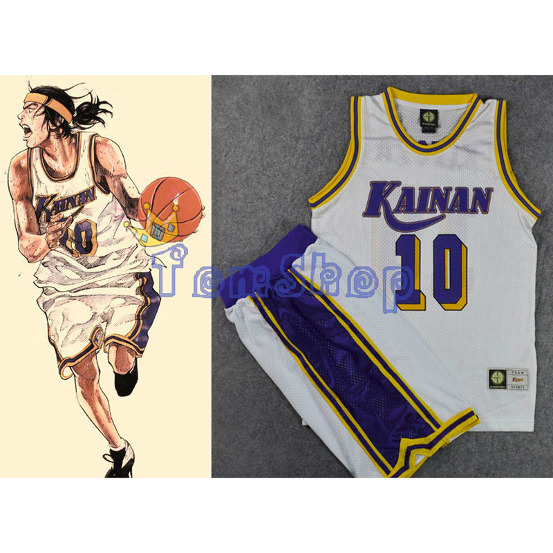 Slam Dunk Cosplay Costume KAINAN Small Forward No. 10 NOBUNGA KIYOTA Basketball Jersey + Shorts Suit Sports Wear Team Uniform