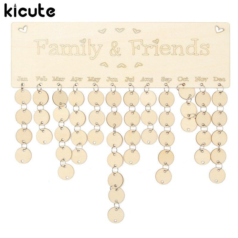 Kicute Wooden Birthday Calendar Board DIY Family Friends Birthday Calendar Sign Special Dates Planner Board Hanging