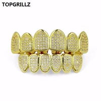 TOPGRILLZ Silver Gold Color Plated High Quality Micro Pave CZ Stone Top Bottom GRILLZ Mouth Hip