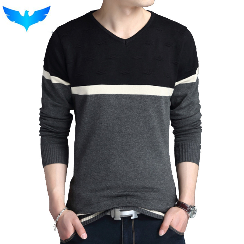Sweater Pullover Men 2018 Male Brand Casual Slim Sweaters Men Fashion High Quality Hedging V-Neck MenS Sweater 4XL ...