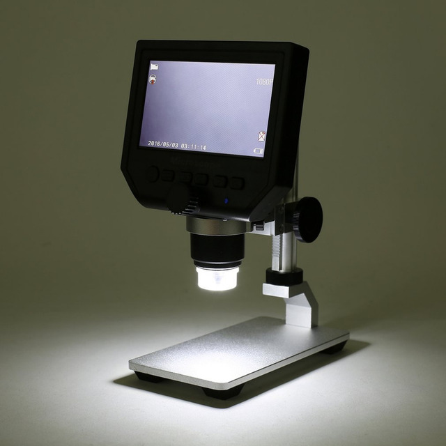 """G600 Portable 1-600X Continuous Magnification 4.3"""" LCD Display 3.6MP Electronic Digital Microscope with Adjustable Metal Stand"""