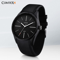 COMTEX Watch Mens Watches Top Brand Luxury Simple Clock Fashion Casual Wristwatches Black Quartz Watch Silicone
