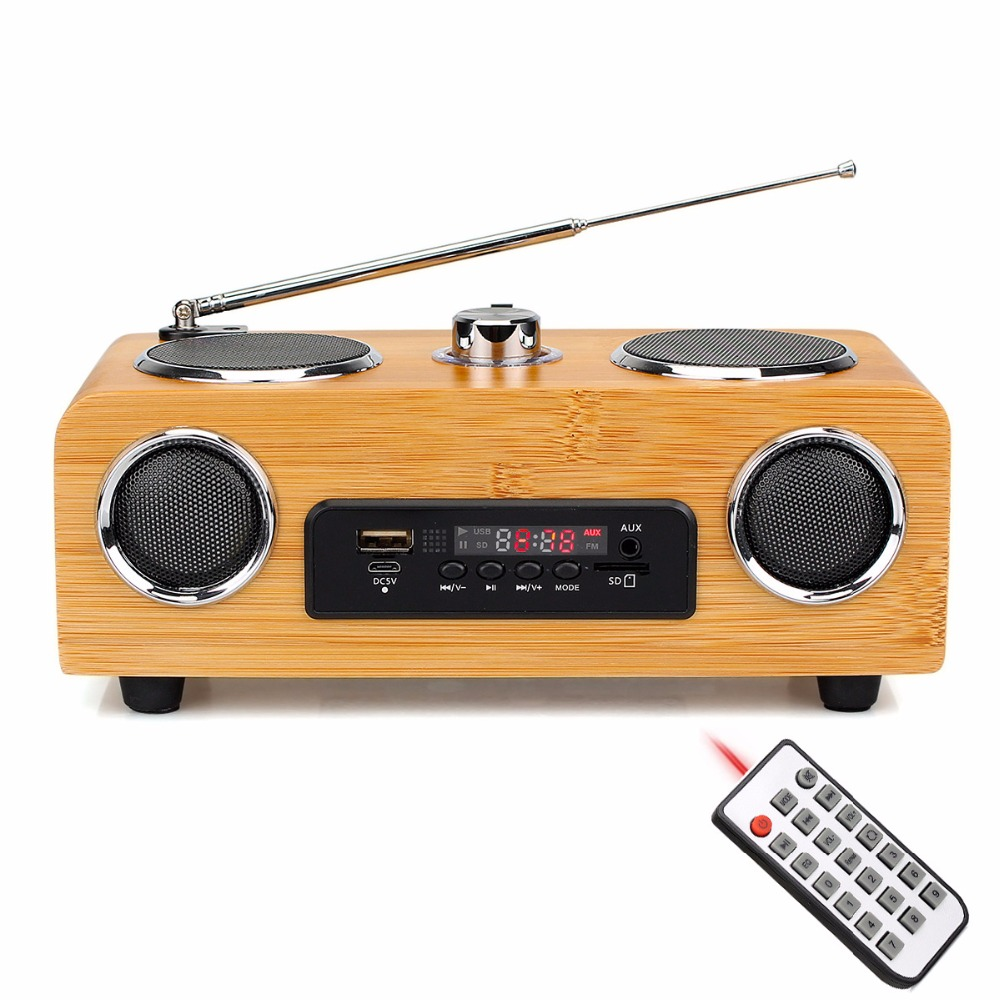 Home Tabletop Radio FM Stereo Handmade Bamboo Multimedia Speaker Classical Receiver USB With MP3 Player Remote Control Y4113O tivdio v 116 fm mw sw dsp shortwave transistor radio receiver multiband mp3 player sleep timer alarm clock f9206a