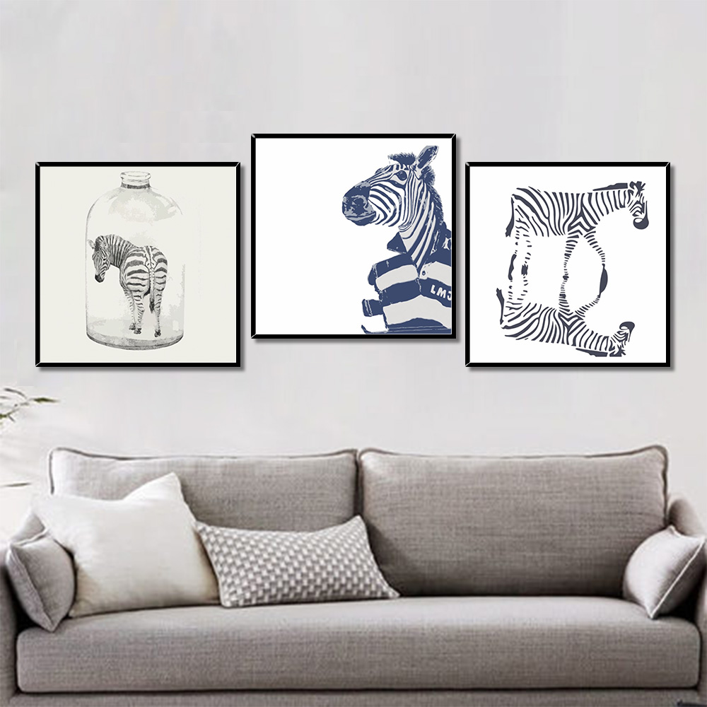 Unframed Multiple Pieces Minimalist Canvas Painting Cartoon Zebra Prints Wall Pictures For Living Room Wall Art Decoration