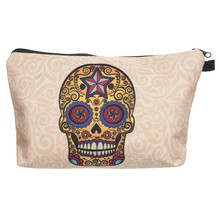 Mexican skull 3D printing cosmetic bag Zohra 2016 Fashion New Hot Now makeup bag women trousse de maquillage travel organizer