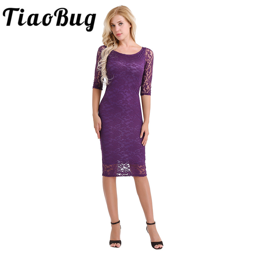 Women Ladies 3/4 Sleeve Flare Retro Lace Overlay Slim Cocktail ...