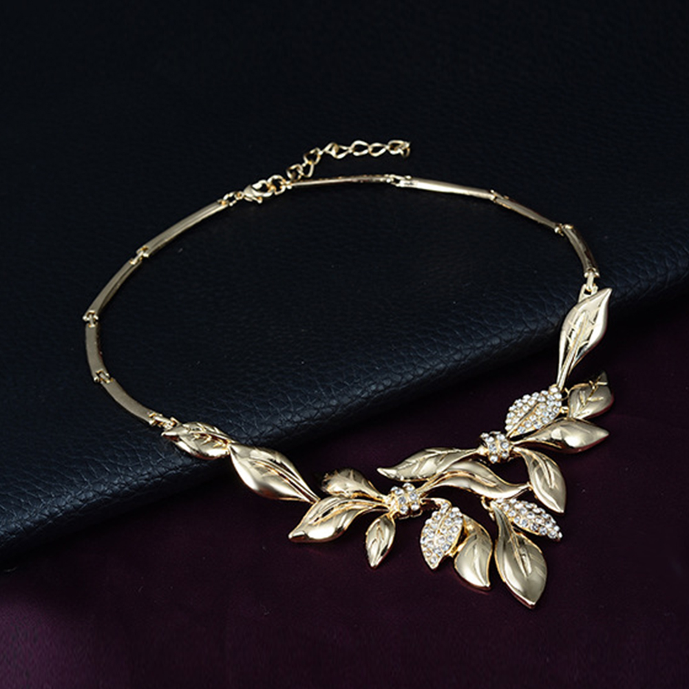 items in bulk for cheap Chic Women Rhinestone Leaf Pendant ruby necklace online Necklace Bracelet Ring Earrings Jewelry Set michael kors online sale Jewelry Sets ng37897531