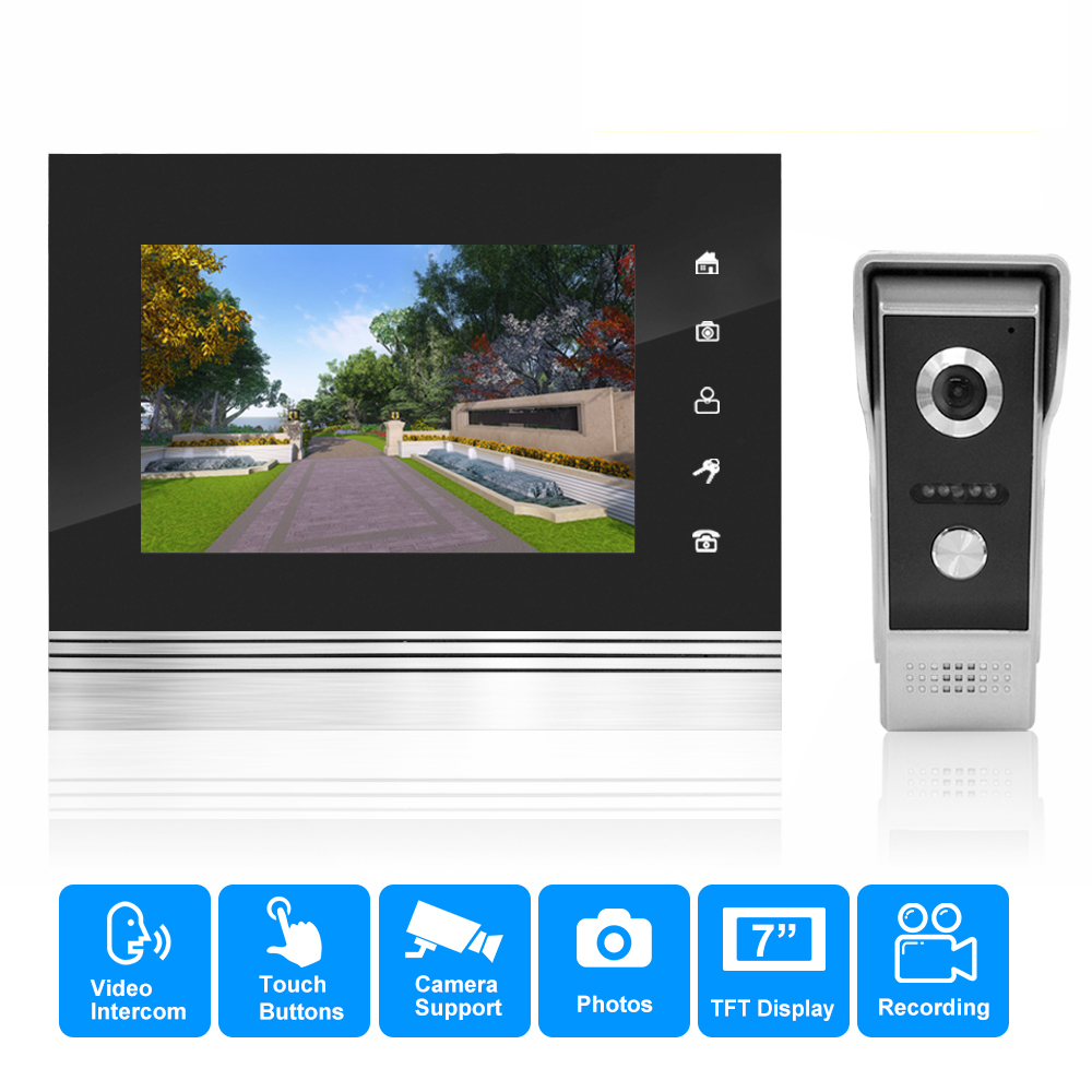 New Wired 7 Color Screen Video Door Phone Intercom System HD 1200TVL Video Doorbell Camera indoor Monitor with recording
