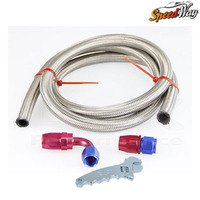 AN12 12 AN STAINLESS BRAIDED OIL FUEL LINE HOSE 1 METER STRAIGHT 90 DEGREE SWIVEL FITTING
