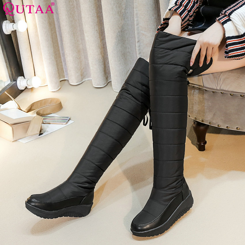 QUTAA 2019 Women Boots Over The Knee High Boots Keep Warm Pu Leather Sonw Boots Black Winter Shoes Women Boots Size 35-44