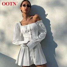 OOTN Vestido corto plisado de manga larga para verano, minivestido Sexy con hombros descubiertos para mujer, túnica blanca, volantes, elegante