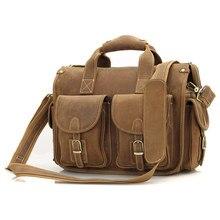 Crazy Horse Leather Briefcases Laptop Bags For Men's Double Handbag 7106B