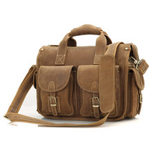 Crazy Horse Leather Briefcases Laptop Bags For Men's Double Handbag 7106B