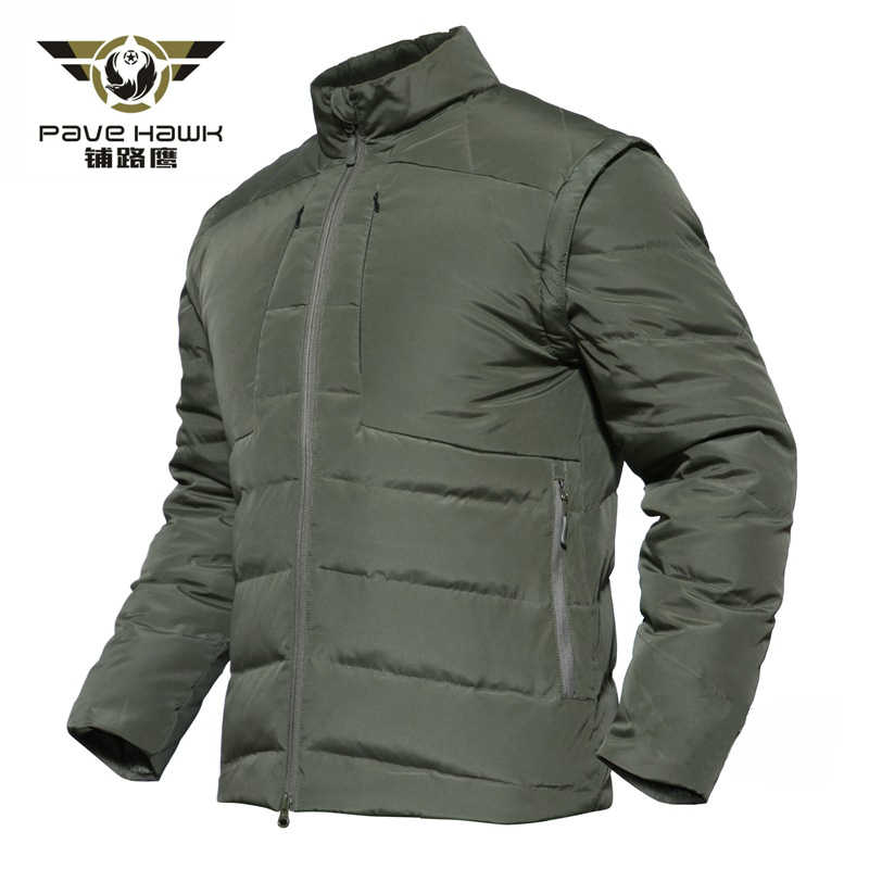 Winter White Duck Down Jacket Men Parka Removable Vest Tactical Jacket Men Military Army Hunting Windproof Waterproof Warm Coat