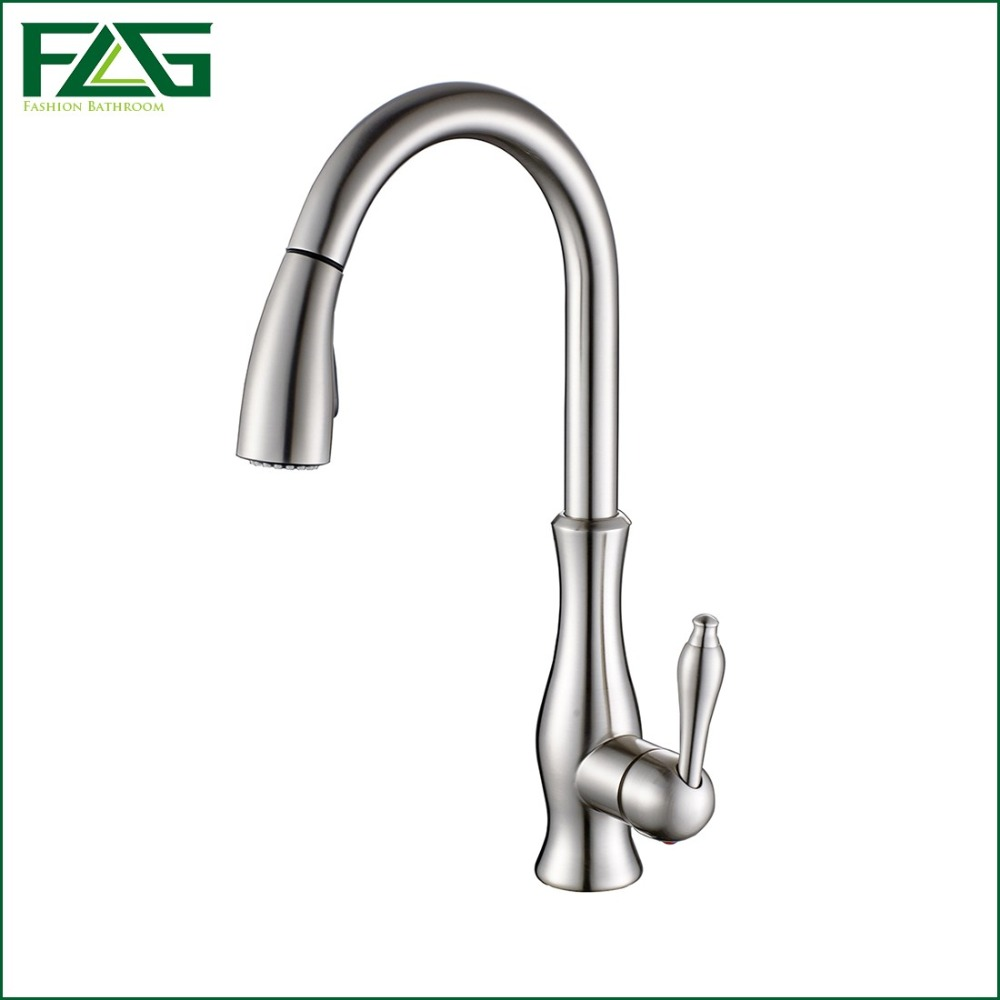 FLG Top Sale Brushed Nickel Kitchen Faucet Bar Sink Faucet Mixer Tap Cold And Hot Single Handle Hole Pull Out Torneira C003N kitchen chrome plated brass faucet single handle pull out pull down sink mixer hot and cold tap modern design