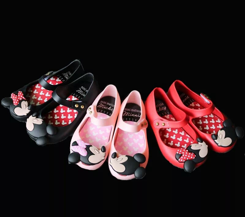 Mini Melissa Girls Jelly Sandals 2017 kids sandals jelly shoes Satin bow PVC soft outsole children sandals Rain shoes 15-18cm