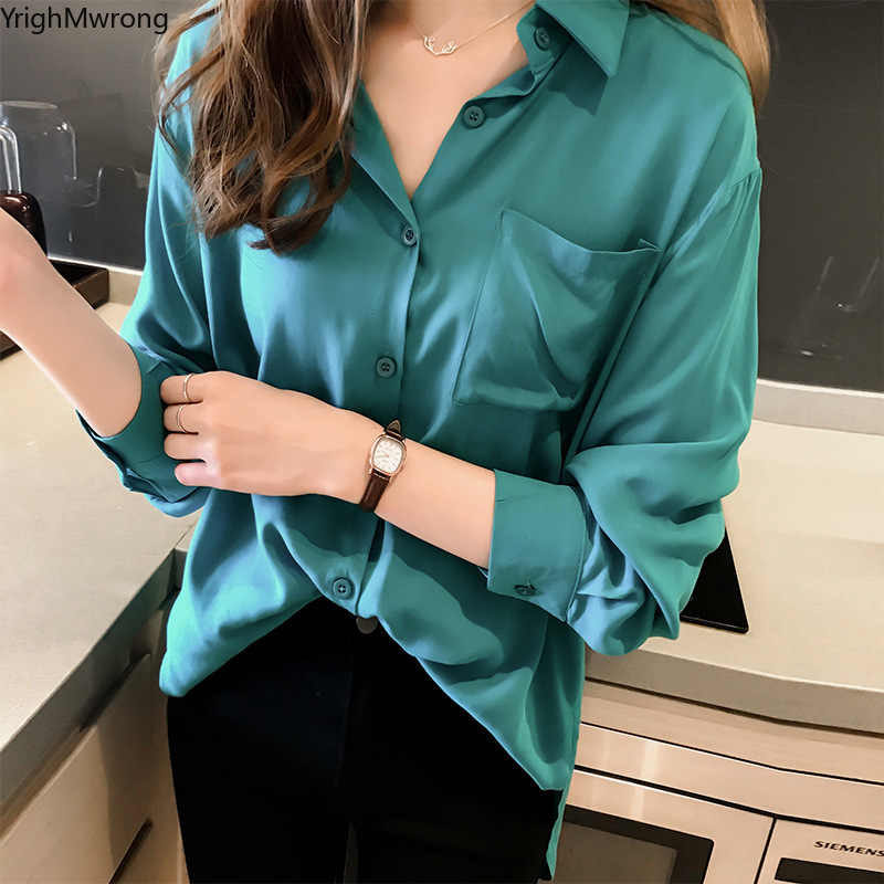 Plus Size Oversized Loose Ladies Solid Satin Silk Chiffon Long Sleeve Blouse Autumn Spring Summer Winter Basic Top Shirt Office