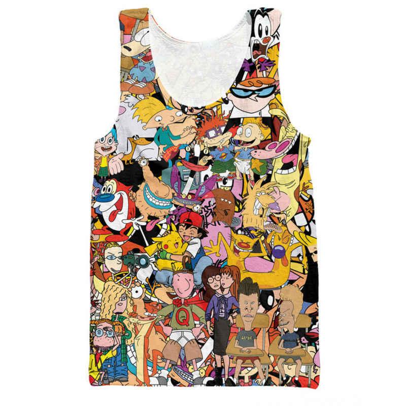 ade01466601c Cartoon Characters Tank Tops 3D Print Sudaderas Sin Mangas Hombre Singlets  Funny Mens Clothes Sleeveless Stringer