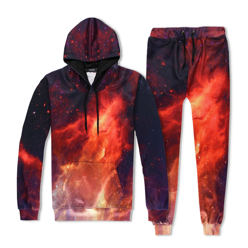 2017 Hot 2 Piece Set Men And Women Casual Tracksuits 3D Print  Flame Fashion Hoodies Hooded+Pants Sweatshirt Track Suit S-XXL