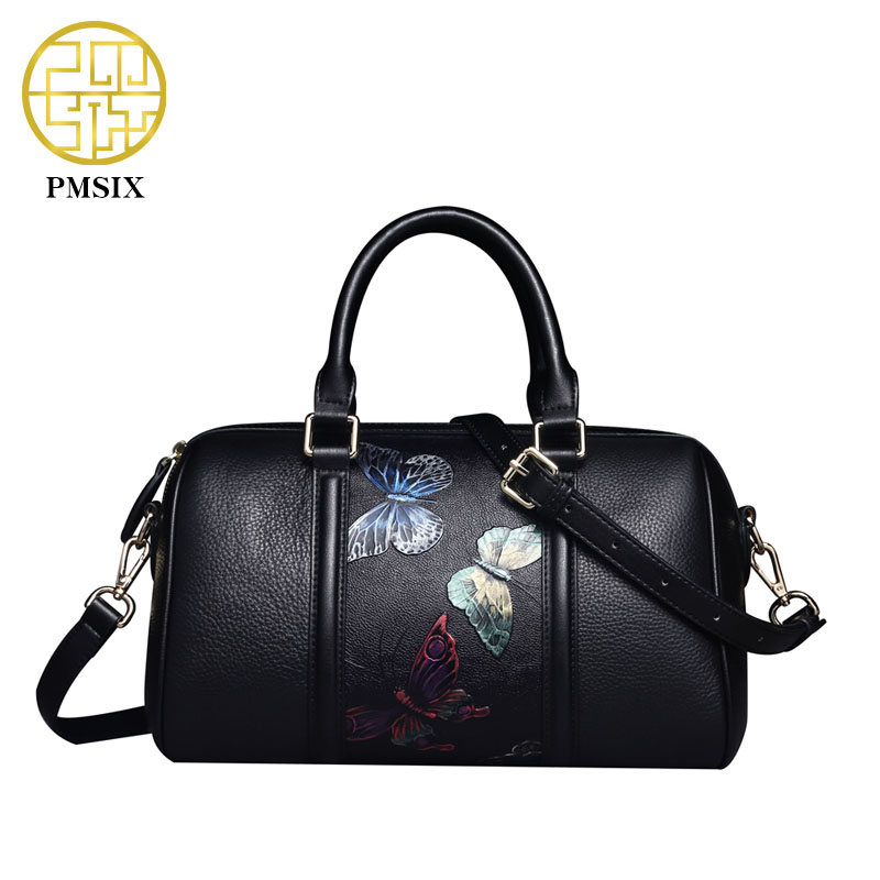 Pmsix Butterfly Printing Women Genuine font b Leather b font font b Handbag b font Retro