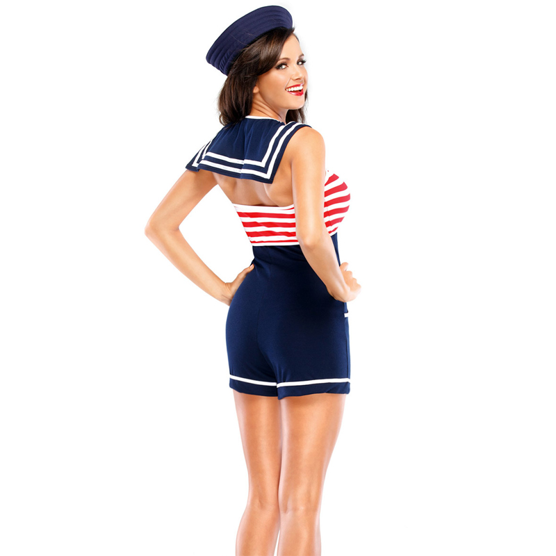 b1cb48c0dc2 Vocole Sexy Women Navy Costume Pin Up Stripe Sailor Jumpsuit Halloween  Fancy Dress-in Sexy Costumes from Novelty   Special Use on Aliexpress.com