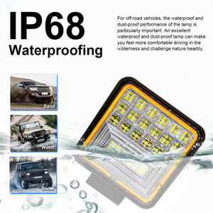 Image 5 - 126W LED Work Light Square Double Color Auto Work Light Offroad ATV Truck Tractor Car Light IP68 Class Waterproof and Dustproof