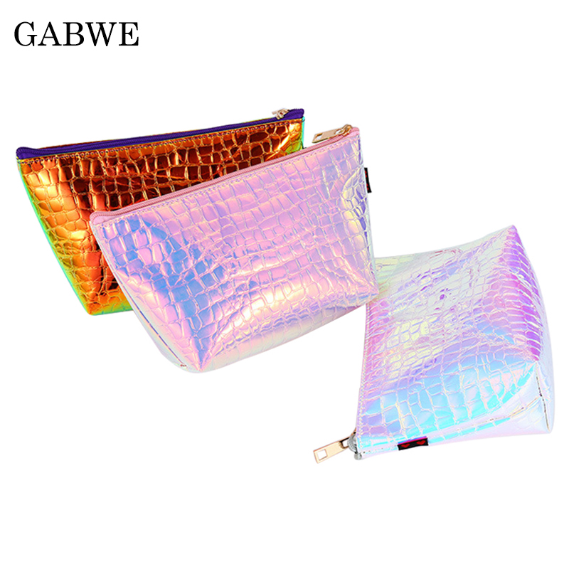 GZBWE  Large Capacity Portable Women Fashion Makeup Bag Organizer Laser PU Travel Cosmetic Case Hologram Toiletry Storage Pouch