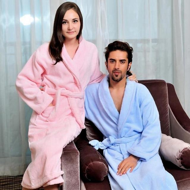 Cotton women bathrobe men pajamas nightgown girls towel fleece thick warm  long soft XL autumn winter white pink blue f3227302b