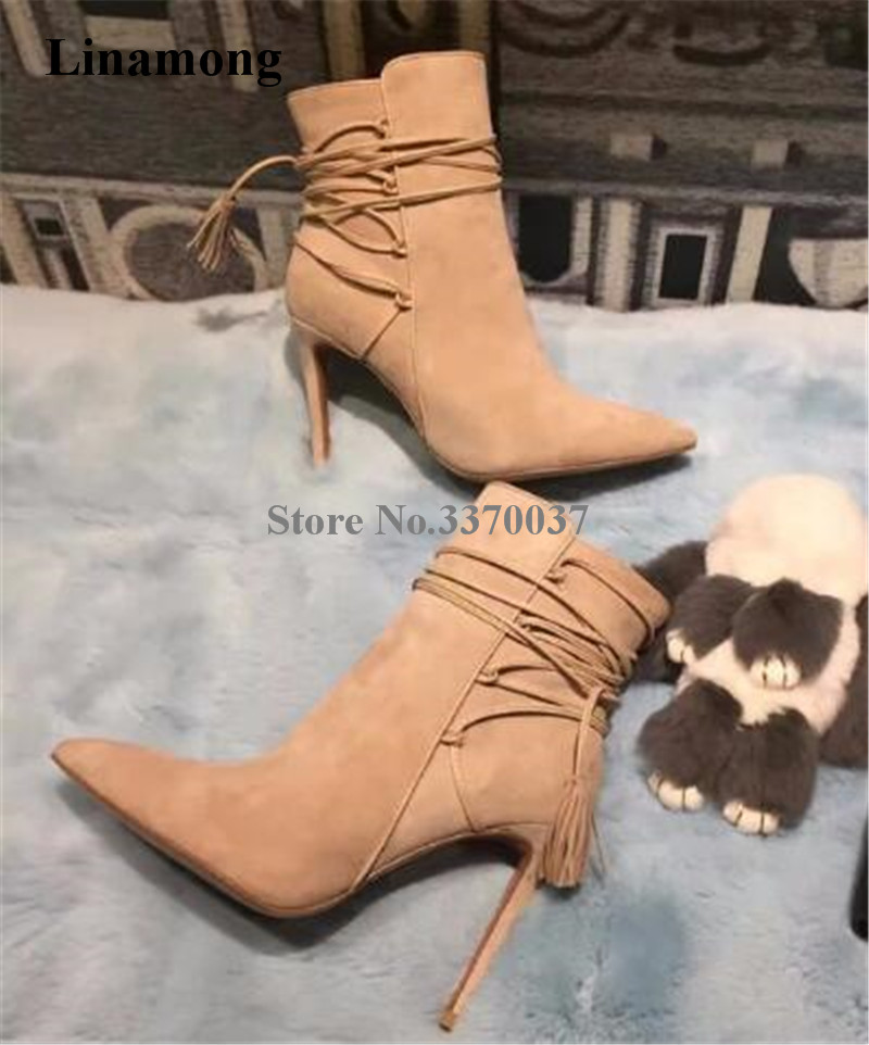 Здесь можно купить  Fashion Style Women Suede Leather Pointed Toe Thin Heel Short Gladiator Boots Ankle Lace-up High Heel Ankle Boots Party Boots  Обувь