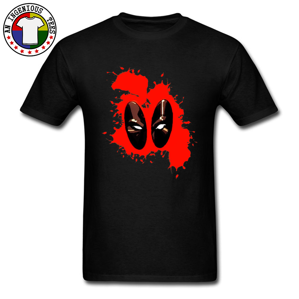 Deadpool Splattered 1226 Male Slim Fit Normal Tops Shirts Round Collar Fall 100% Cotton Tshirts Gift Short Sleeve Tee Shirts Deadpool Splattered 1226 black