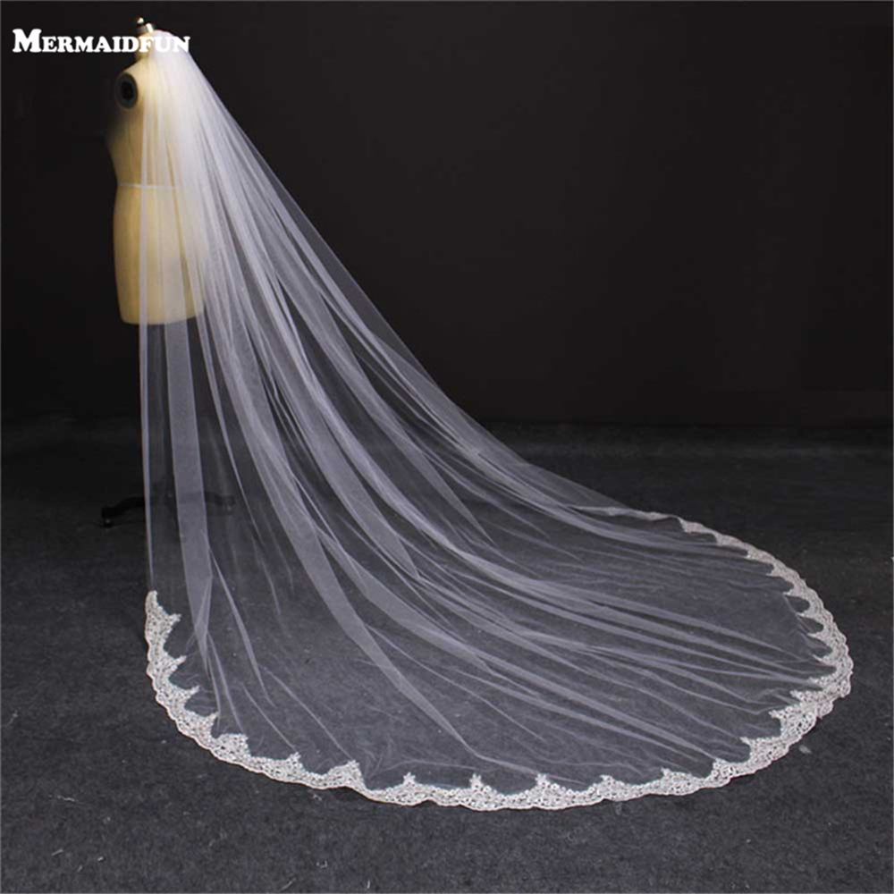 Real Photos 3 Meters Partial Laced White Ivory Wedding Veil WITH Comb Beautiful Bridal Veil Wedding Accessories
