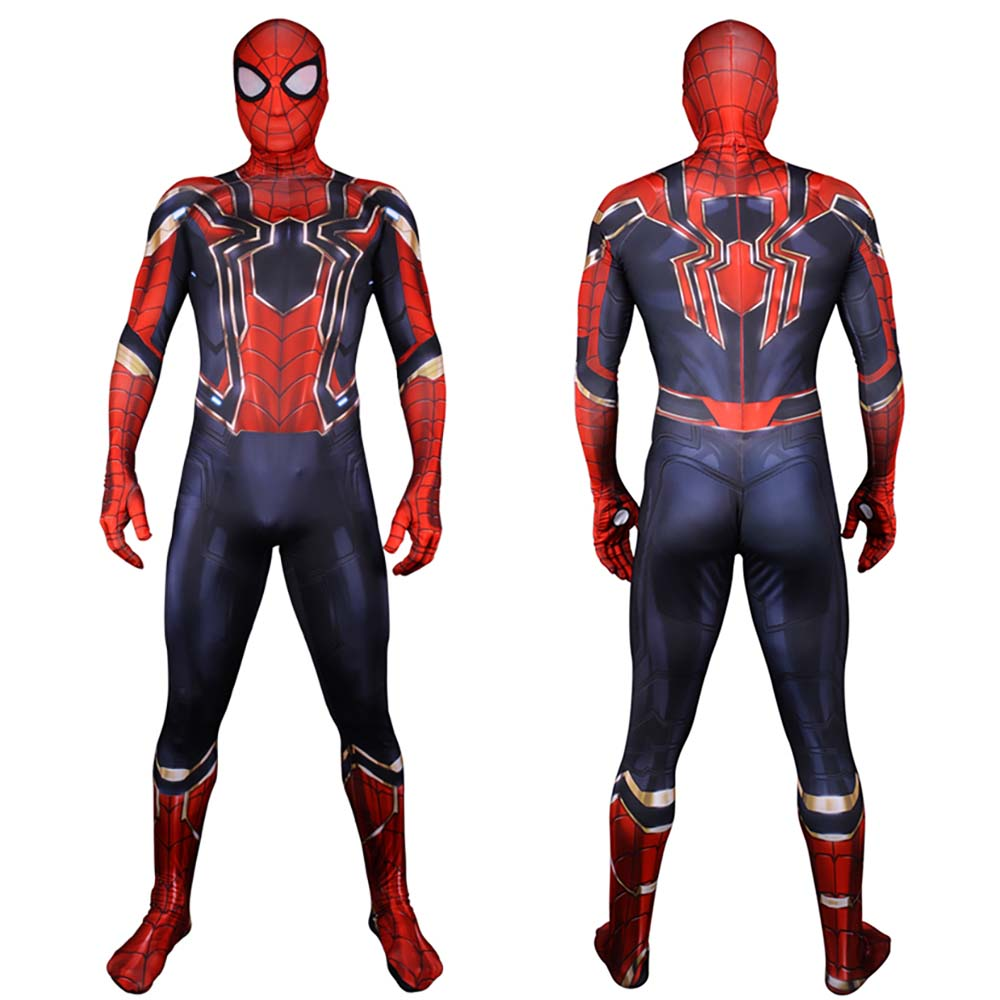 New Spiderman Costume Kids Adult Avenger Infinity War Tom Holland Iron Spider Man Cosplay Costume 3D Print Zentai Bodysuit
